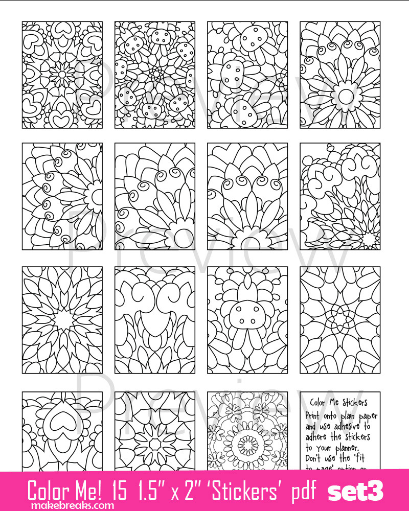 Coloring Page Planner Stickers Set 3