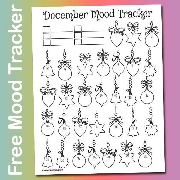 Free December Mood Tracker Tracking Page – Christmas Ornaments