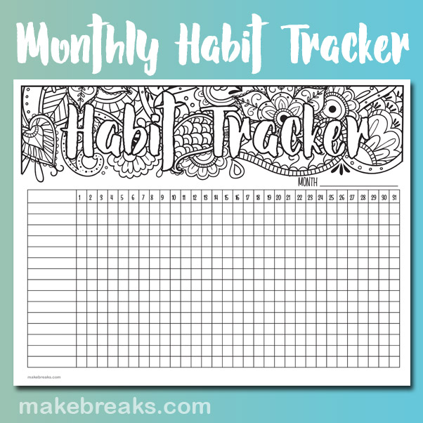 photo relating to Monthly Habit Tracker Printable referred to as Undated Practice Tracker - Produce Breaks
