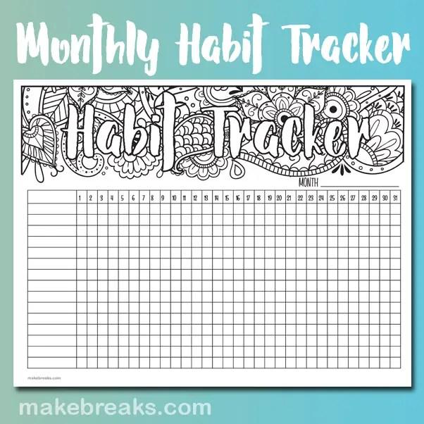 Undated Habit Tracker Make Breaks
