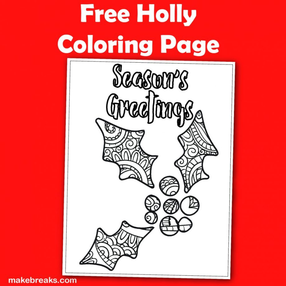 Free holly coloring page