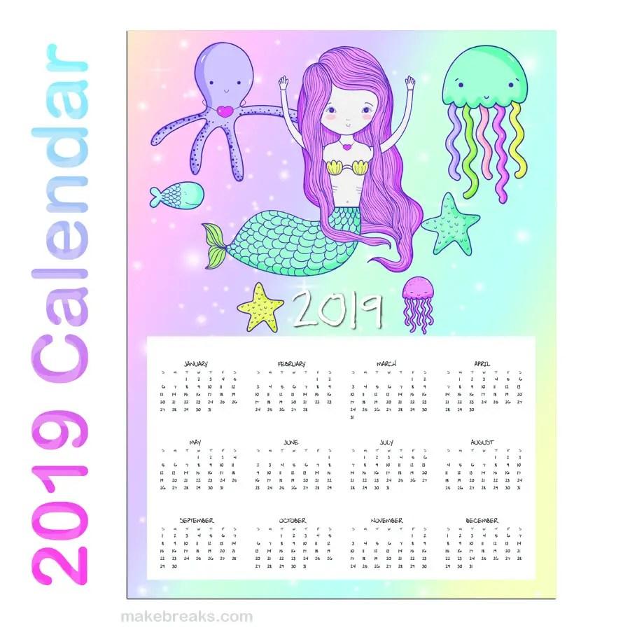 Free Printable Mermaid One Page Calendar