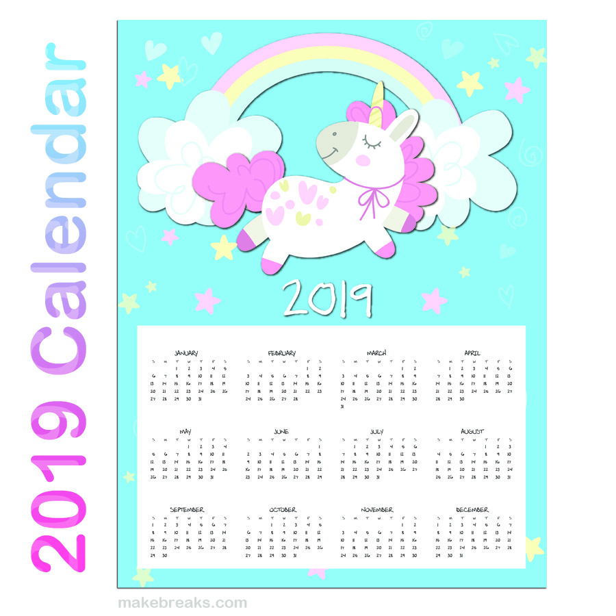 Free Printable Unicorn One Page 2019 Calendar