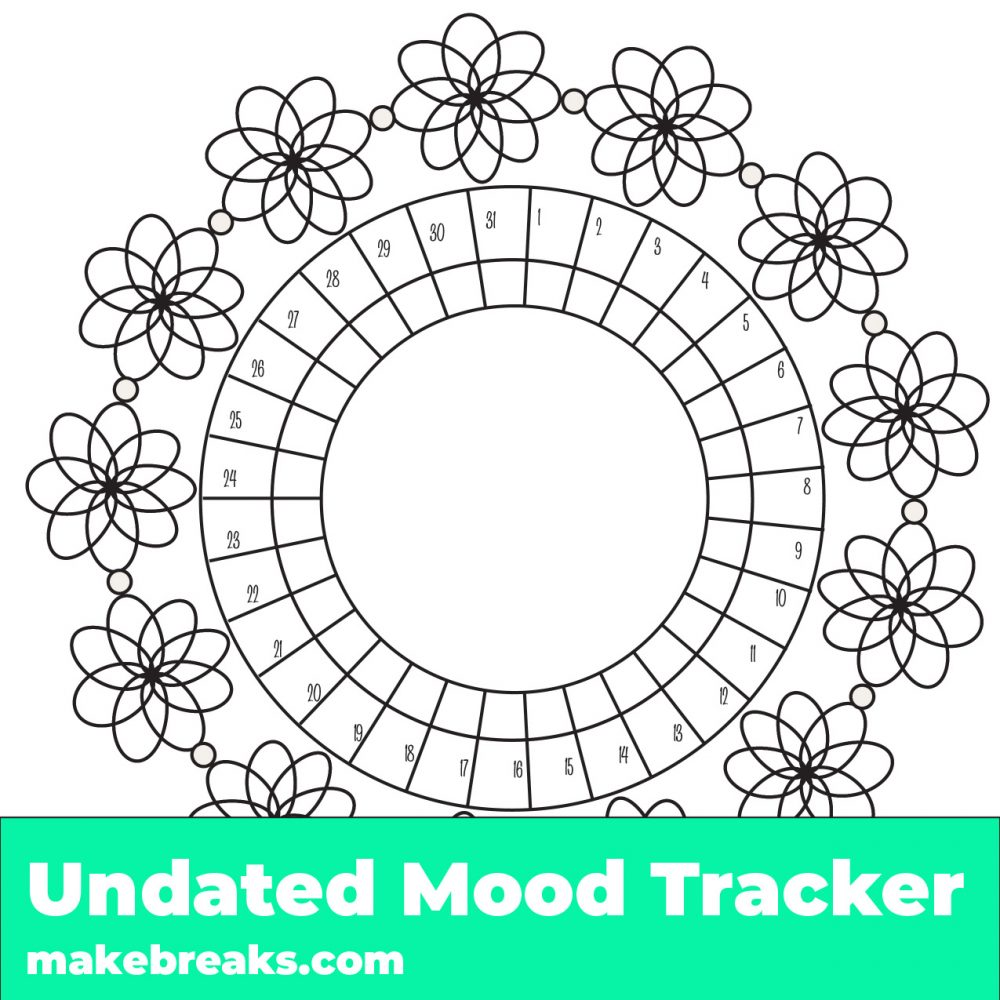 image relating to Printable Mood Tracker named No cost Printable Floral Temper Tracker - Create Breaks