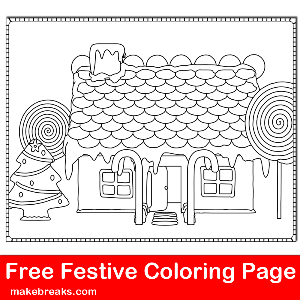 Free coloring page with a gingerbread house for holiday coloring