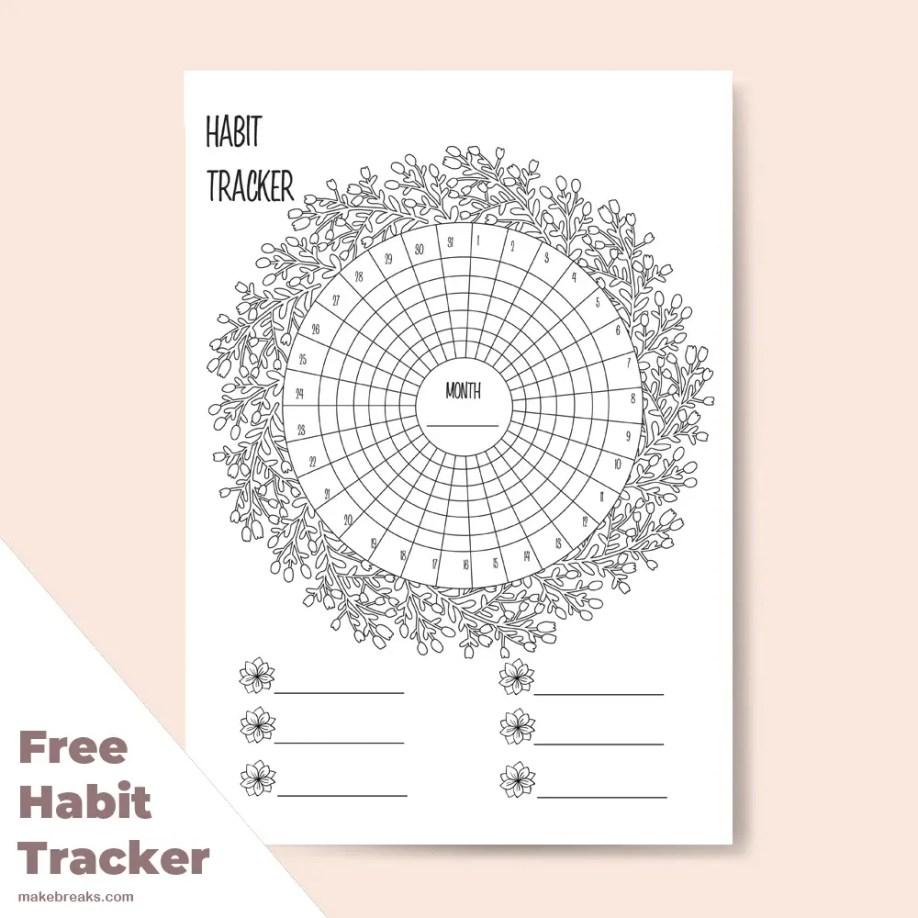 Floral patterned habit tracker to download