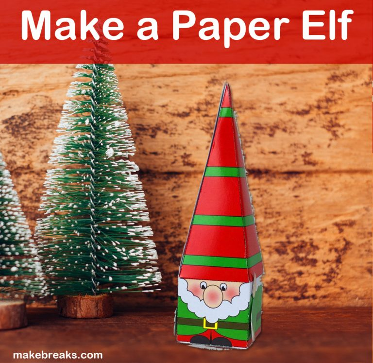make a paper elf created using free template from makebreaks