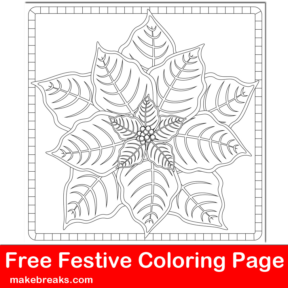 Free Christmas Holiday Simple Poinsettia Coloring Page Make Breaks