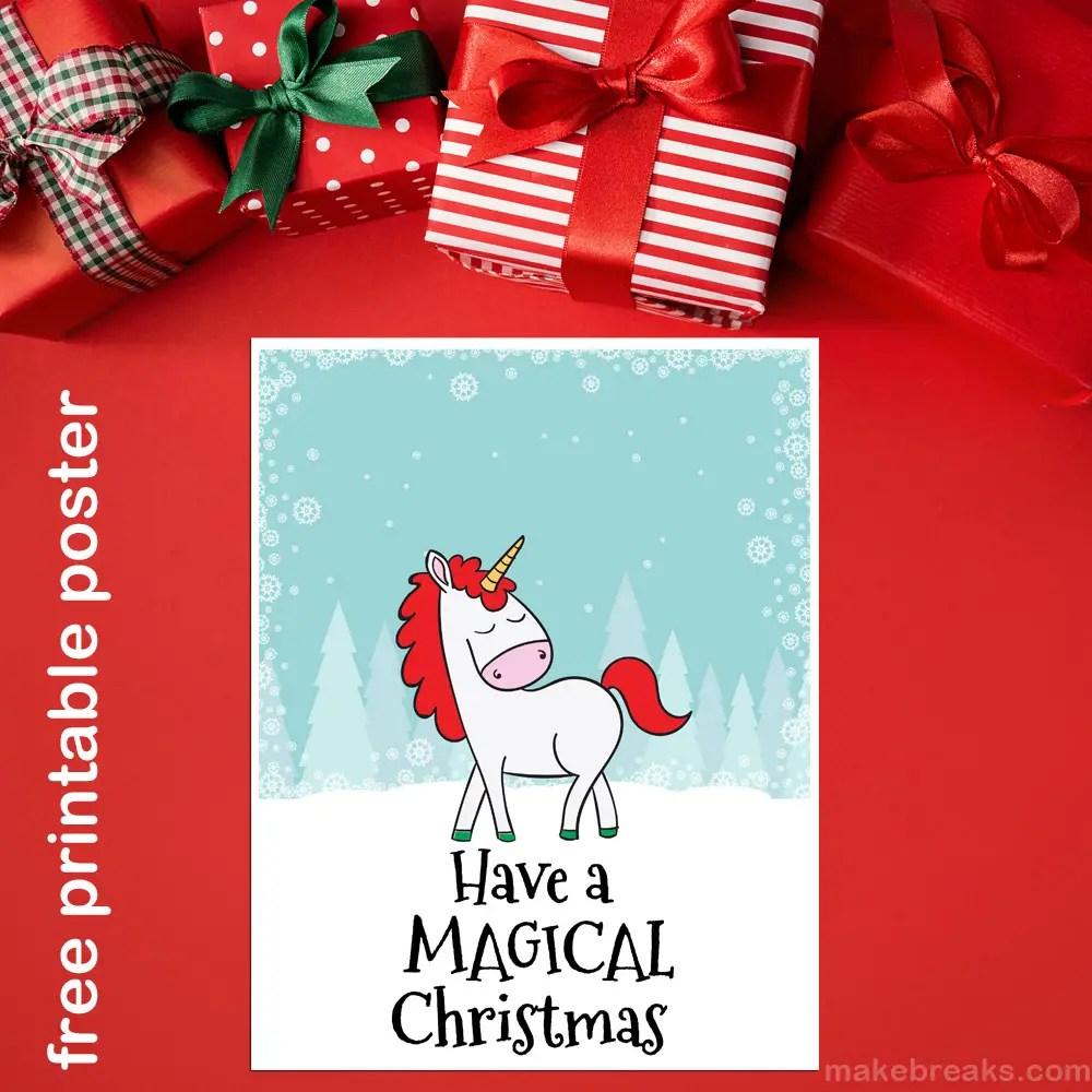 Free Printable Magical Unicorn Christmas Poster