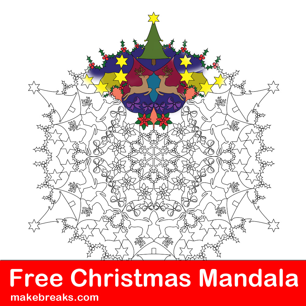 Christmas themed mandala coloring page to download