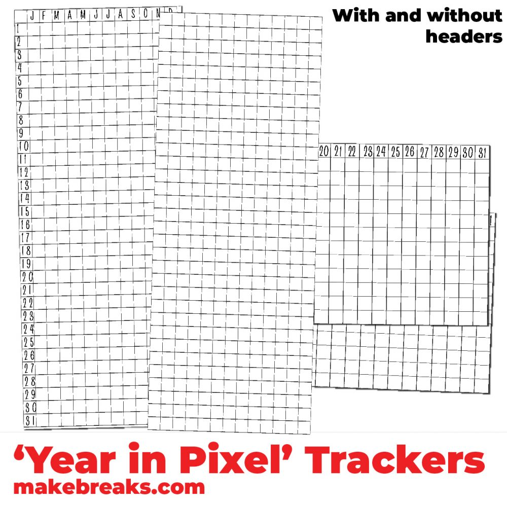 photograph relating to Year in Pixels Printable referred to as Totally free 12 months within just Pixels Tracker Blanks for Bullet Publications and