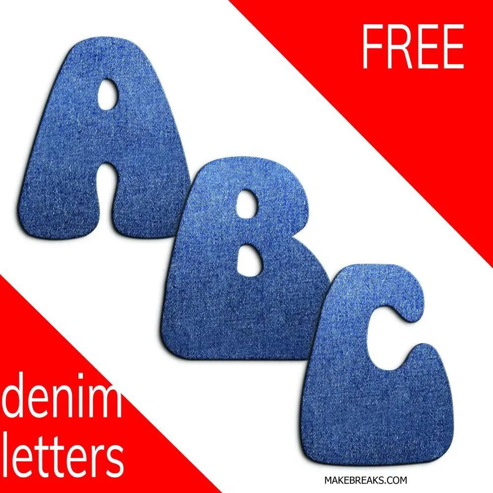 Free Denim Effect Printable Alphabet