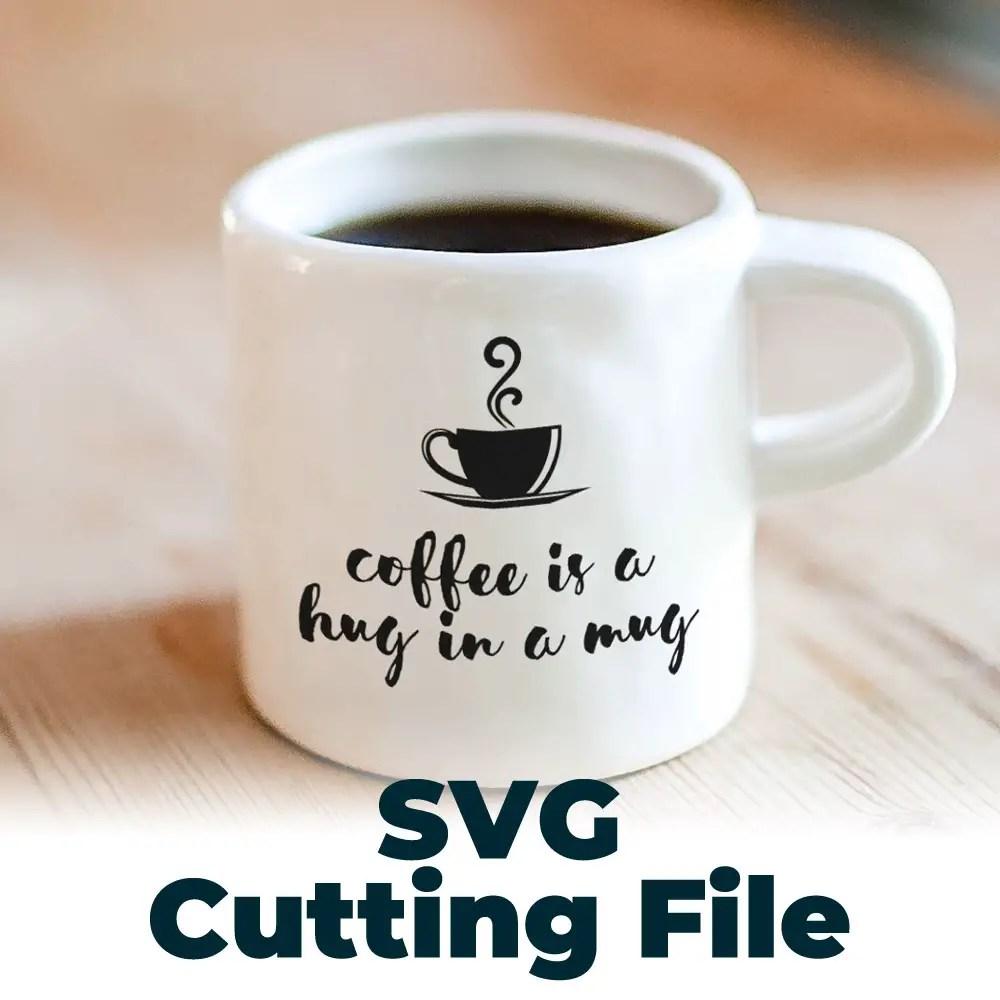Coffee us a hug in a mug free SVG file