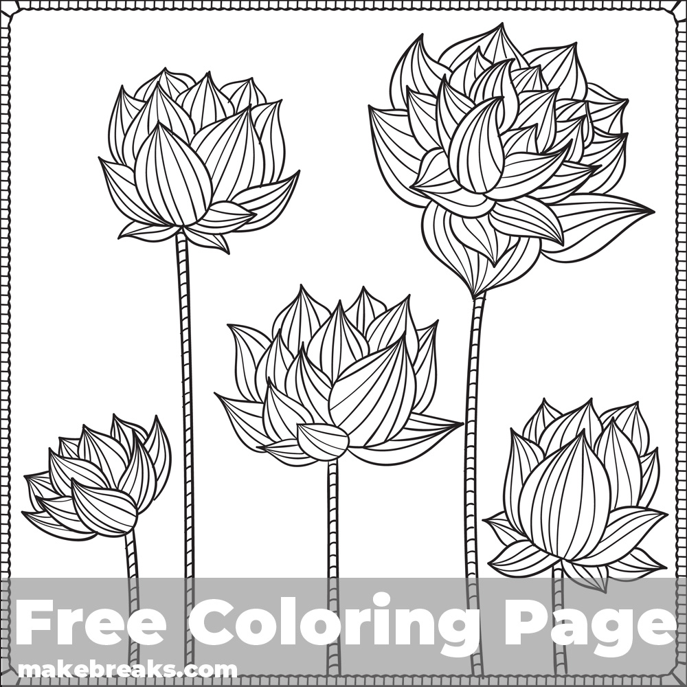 Lotus Flower Coloring Page