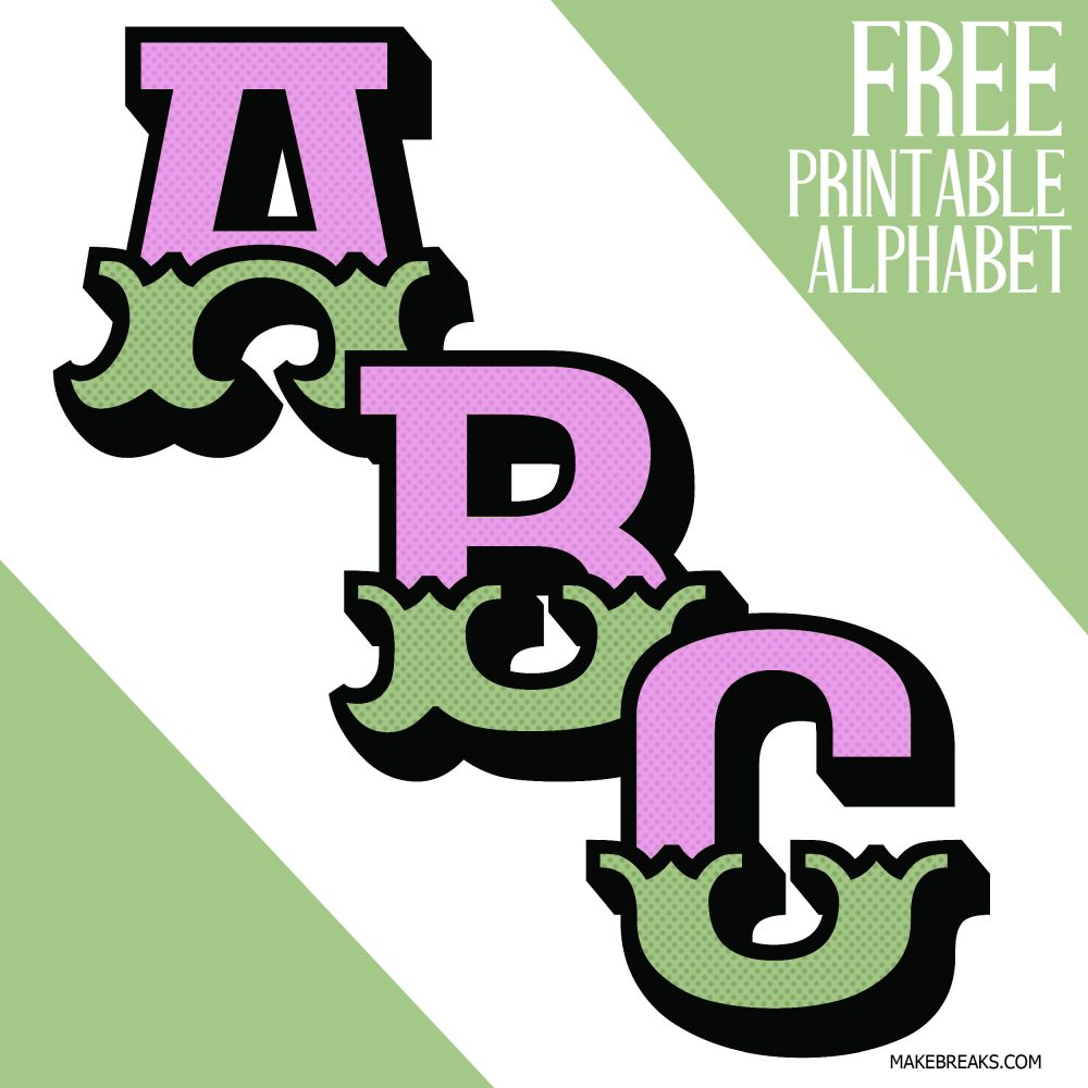 Printable alphabet with an ornate style in pink and green