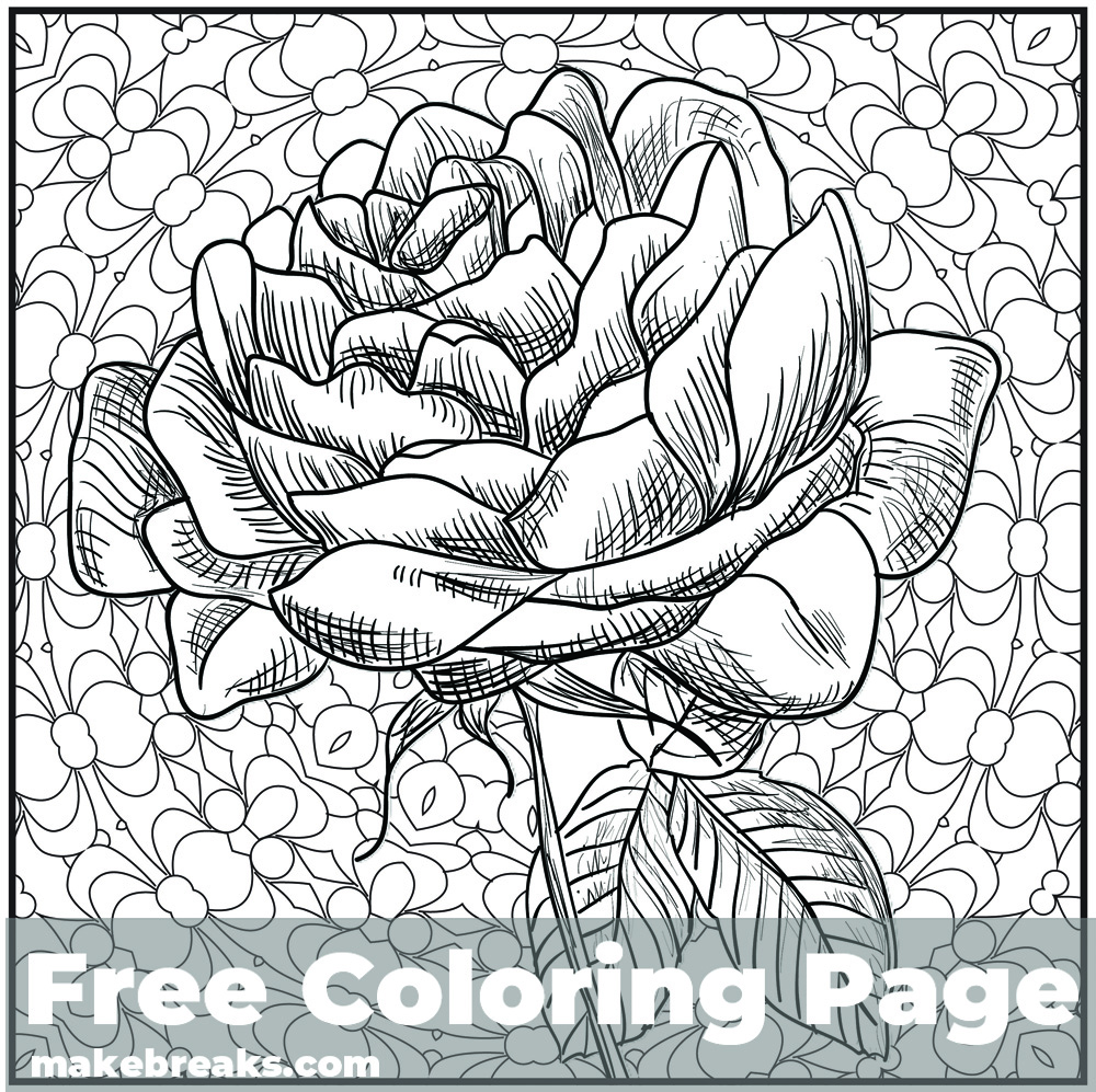 Romantic Rose Flower Coloring Page