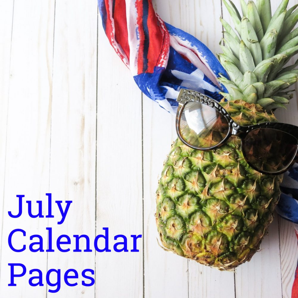 July 2019 Calendar Pages