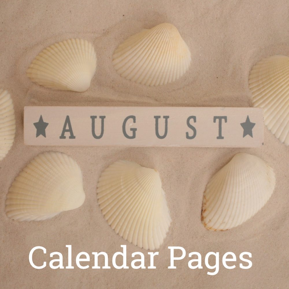 August 2019 Calendar Pages