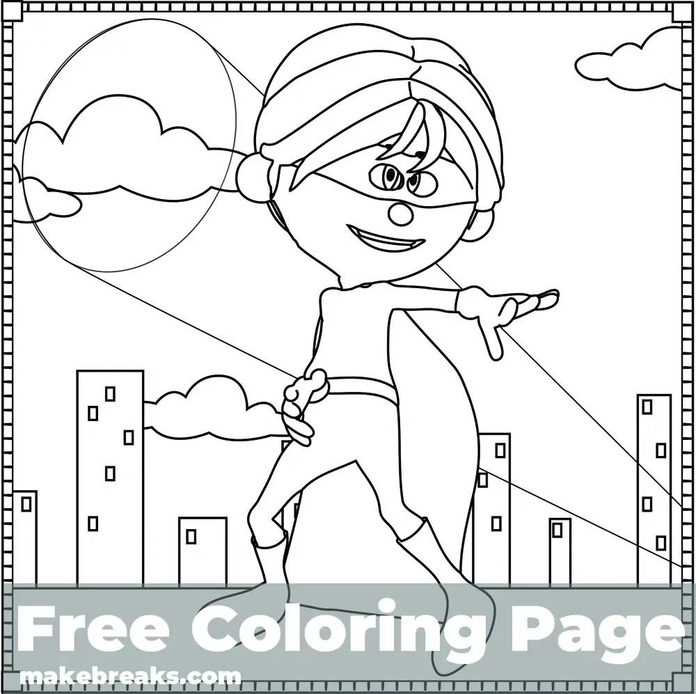 Superhero Boy Coloring Page