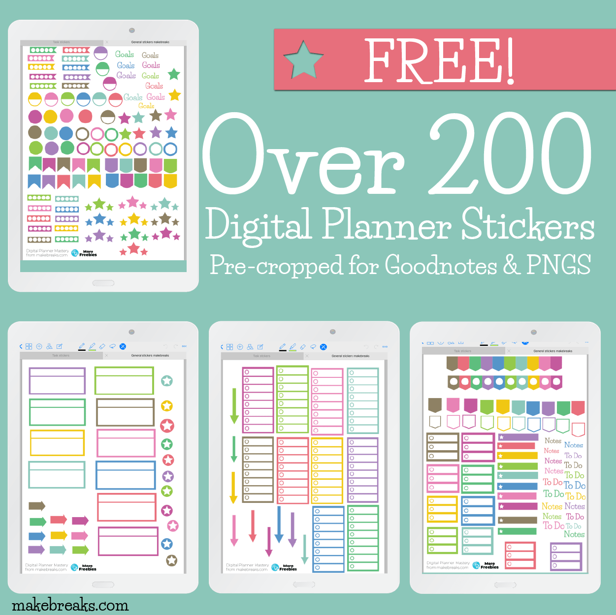 picture regarding Free Digital Planner Pdf named Absolutely free Overall Electronic Stickers For Goodnotes Electronic