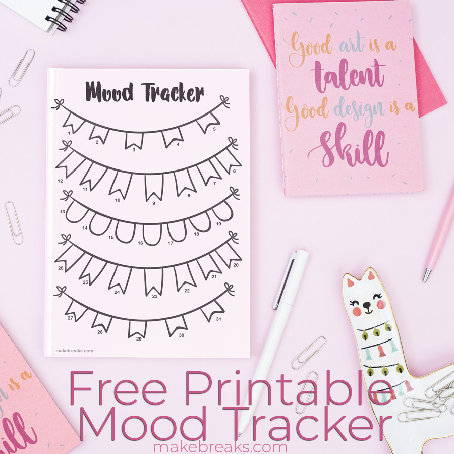 graphic regarding Free Mood Tracker Printable identify Totally free Printable Undated Bunting Temper Tracker - Produce Breaks