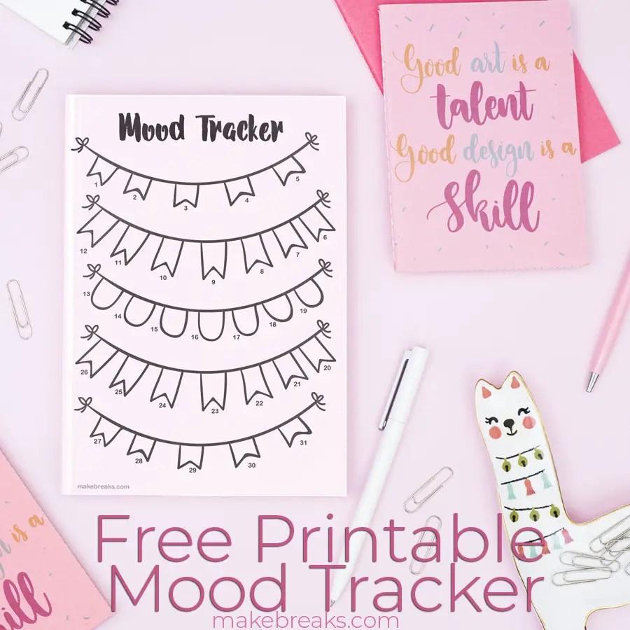 Free Printable Undated Bunting Mood Tracker