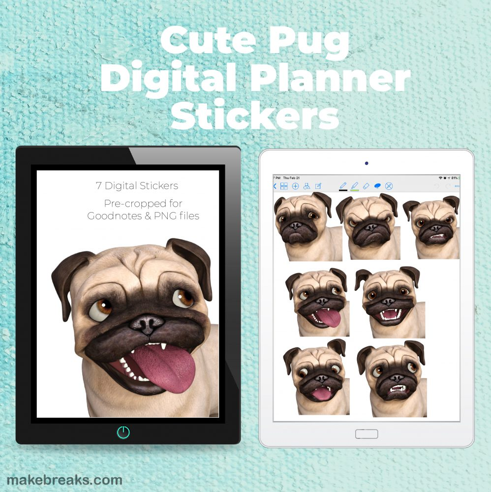 Free Digital Planner Stickers – Cute Pug Dog Stickers
