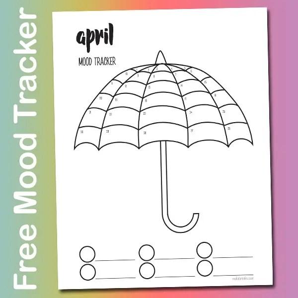 Free April Mood Tracker Tracking Page – Umbrella