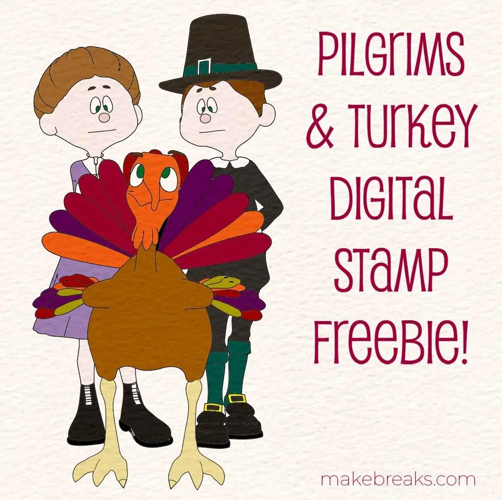 Free Digital Stamp – Pilgrims and Turkey