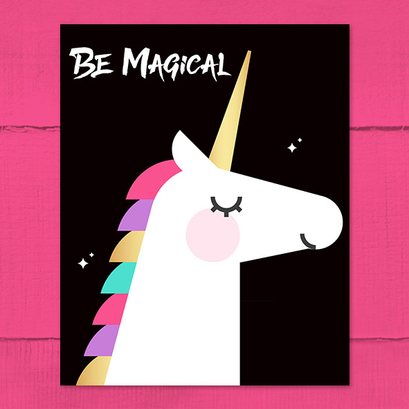 Free Printable 'Be Magical' Unicorn Poster