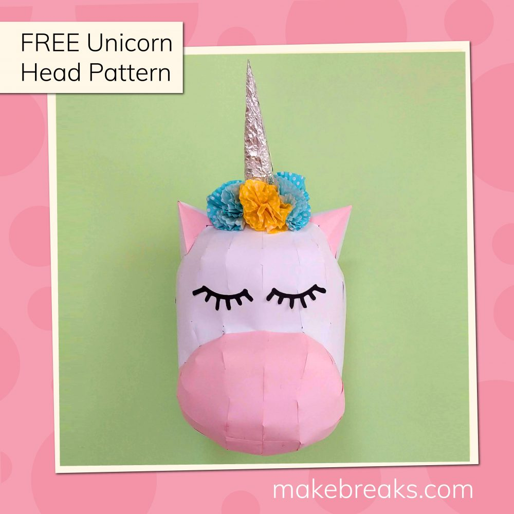 DIY Cute Paper Unicorn Head Model Free Template (option 2)