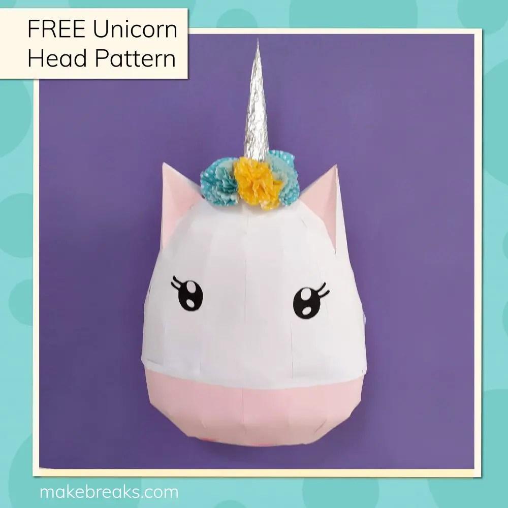 DIY Paper Unicorn Head Model Free Template (1)