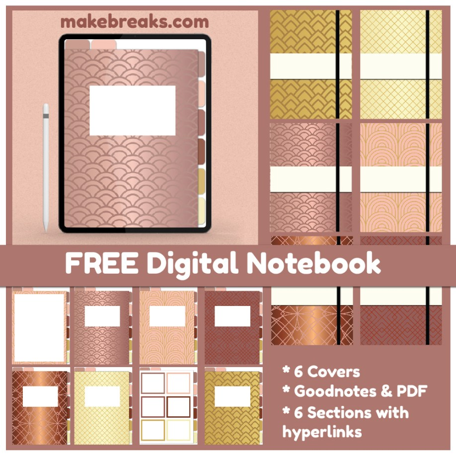 free gold digital notebook