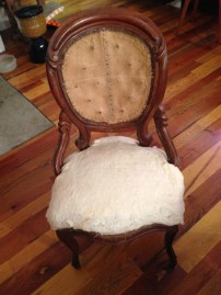 Here is the chair... ready to be reupholstered.