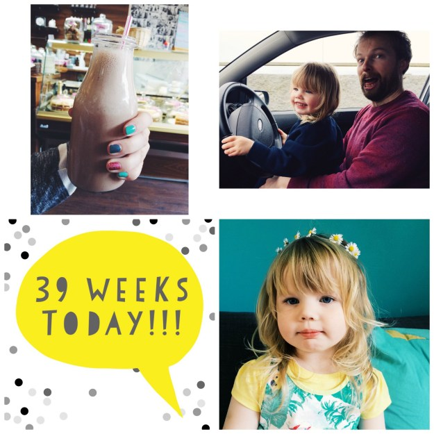 1. Milkshakes should ALWAYS be served in milk bottles (Sunday) // 2. Who let the Toddler drive? (Sunday) // 3. 39 weeks pregnant! (Monday) // 4. Daisy chains (Monday)