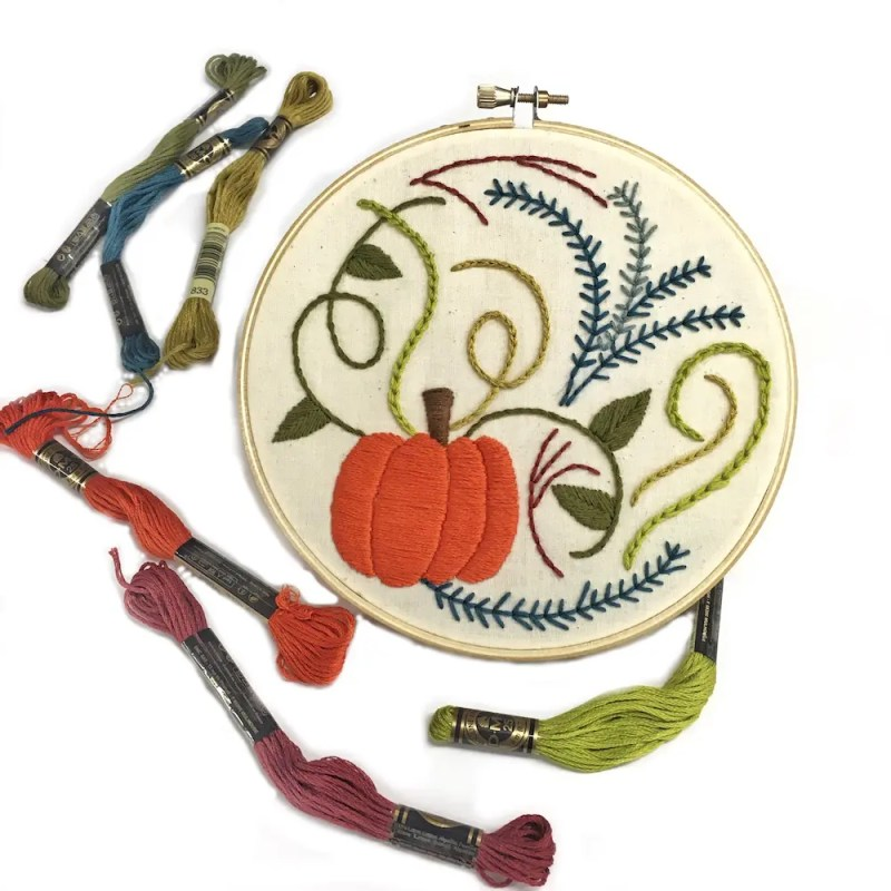 pumplin hand embroidery