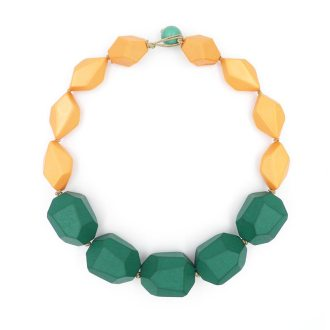 Collar geométrico coral turquesa