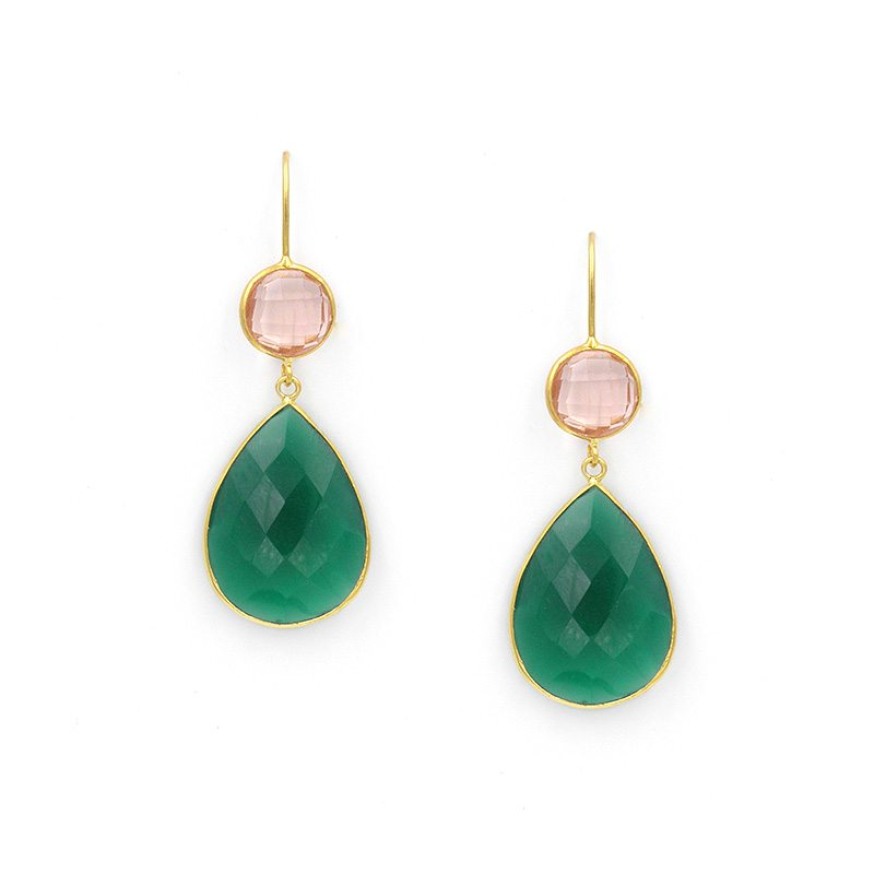 pendientes verdes y rosa cuarzo