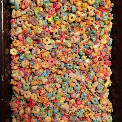 Mix in cereal and press into dish