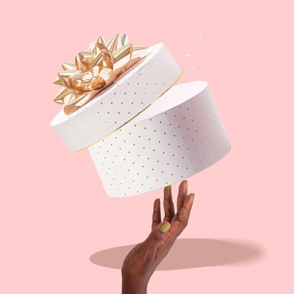 Pink Gift Box Wrapping Hand