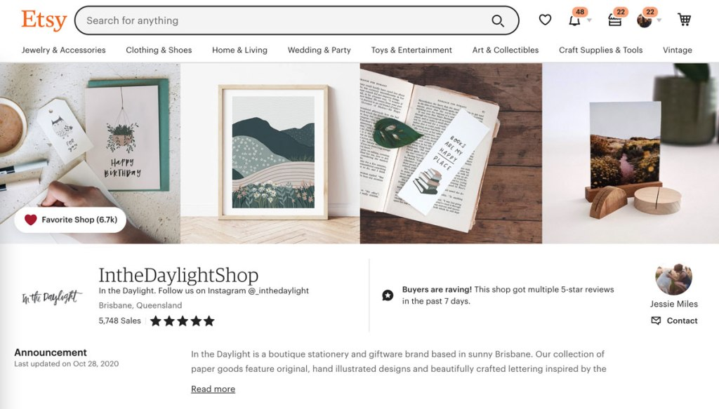 In The Daylight Etsy Store