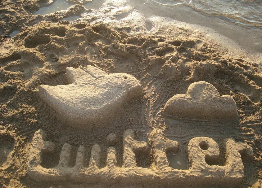 Twitter in sand