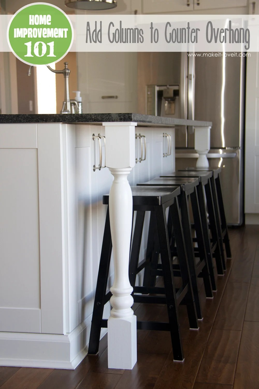 kitchen counter overhang yellow mat home improvement adding column supports to plus finished photos
