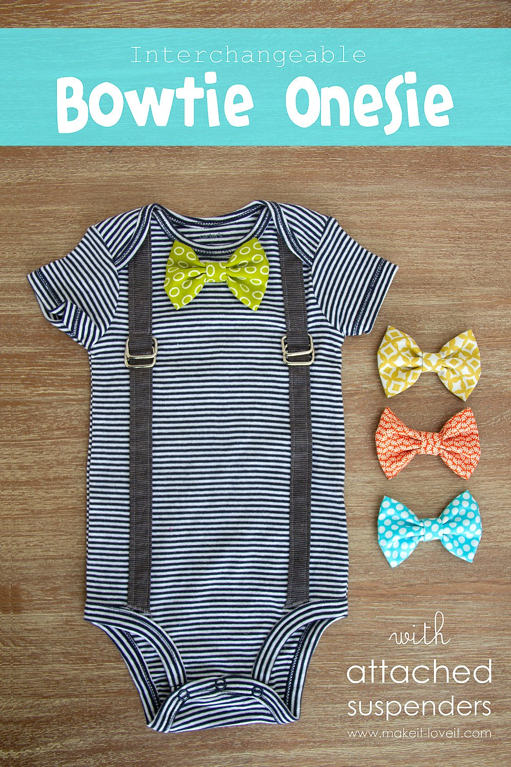Baby Bow Ties Pattern : pattern, Interchangeable, Bowtie, Onesie....with, Attached, Suspenders, Variations)