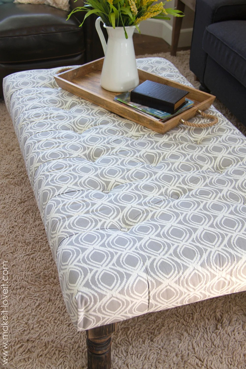 how to make a diy tufted fabric ottoman