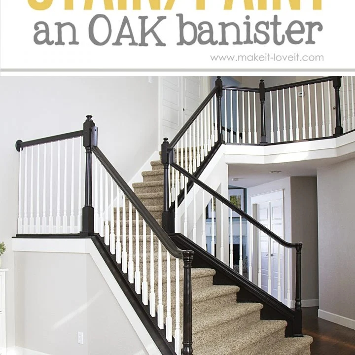 How To Paint Stain Wood Stair Railings Oak Banisters Spindles   Staircase Refinishing Near Me   Basement   Restaining   Brown Stained   White Riser   Grey Flooring