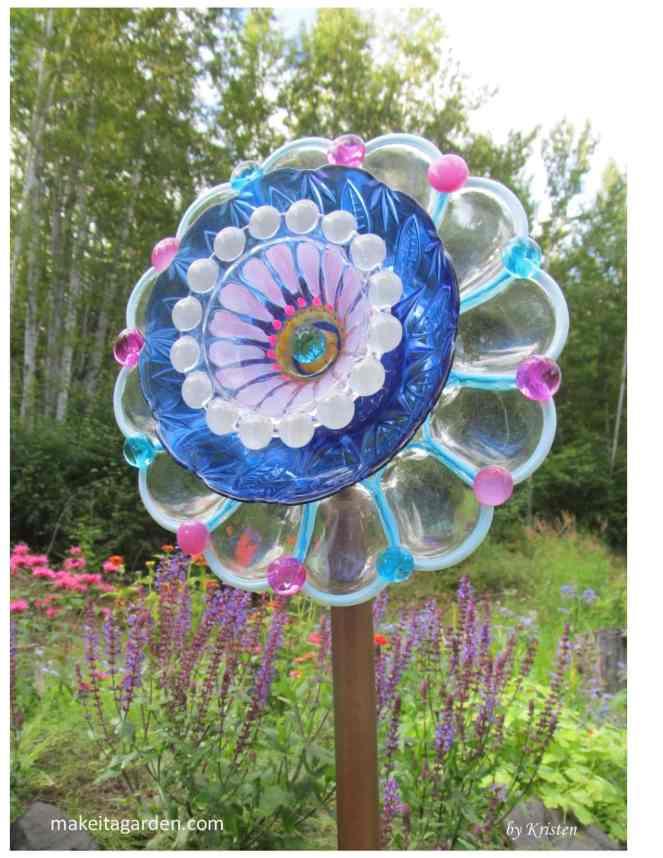 Garden Plate Flower Garden Dish Flowers Hand crafted plate flower Garden Art and Garden Sun Catcher