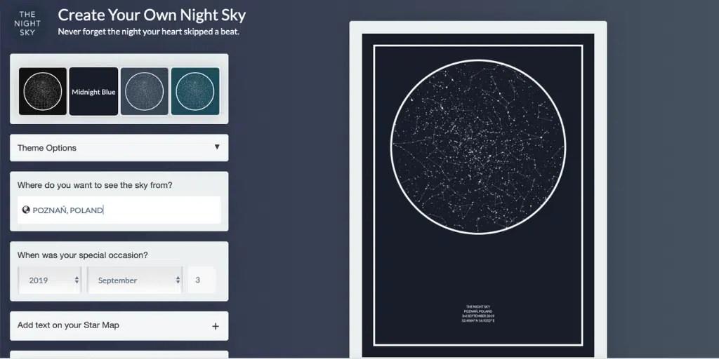 mapa nieba z moją dają the night sky