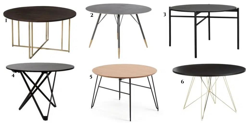 okrągły stół z metalowymi nogami