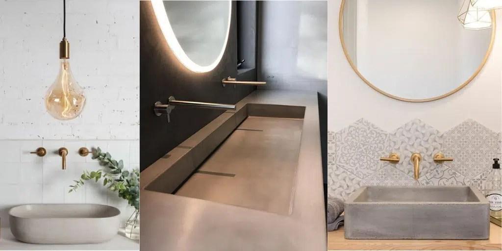 duża umywalka łazienkowa szara betonowa